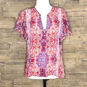 Parker pink and blue motif boho blouse